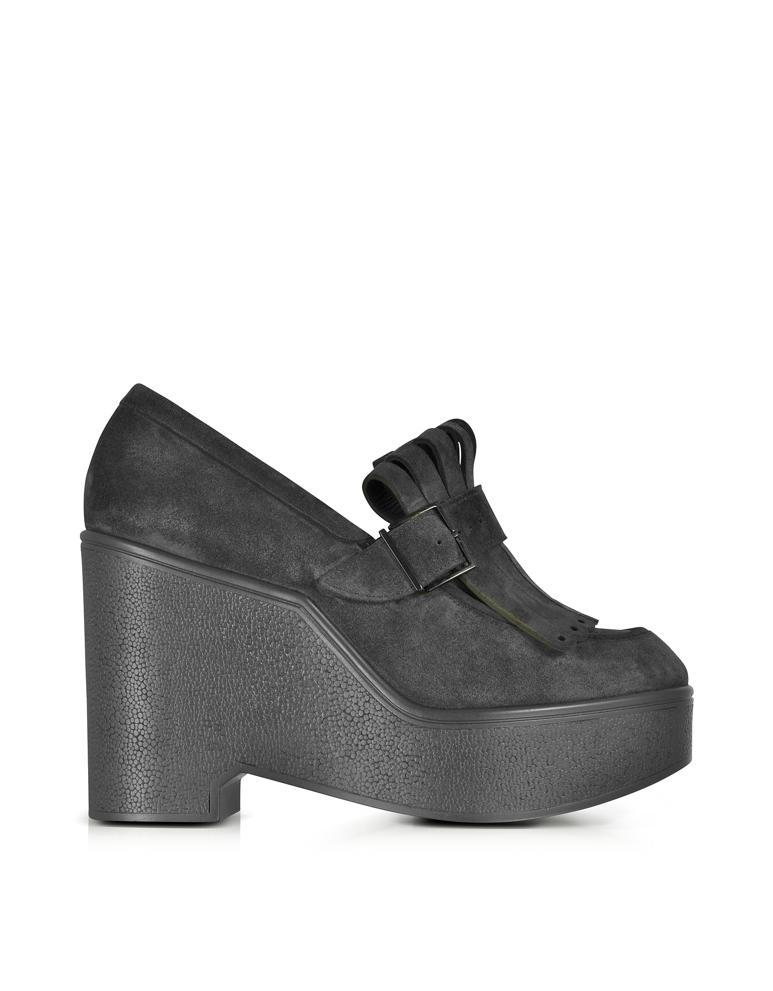 Robert Clergerie Shoes, Boca Black Suede Wedge Loafer