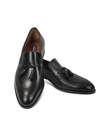 Black Calf Leather Tassel Loafer Shoes