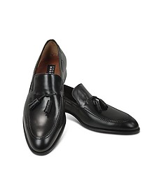 Black Calf Leather Tassel Loafer Shoes - Fratelli Rossetti