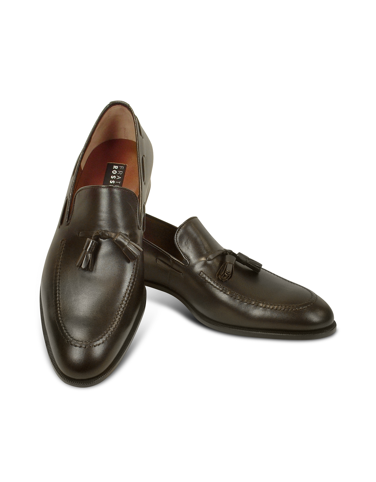 Image of Fratelli Rossetti Designer Shoes, Dark Brown Calf Leather Tassel Loafer Shoes