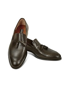 Dark Brown Calf Leather Tassel Loafer Shoes - Fratelli Rossetti