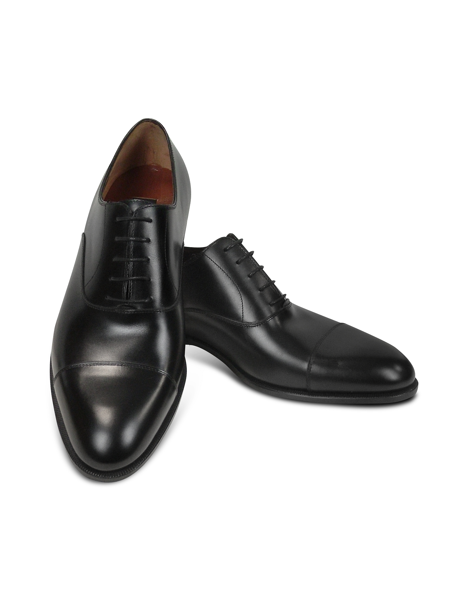 Fratelli Rossetti Shoes, Black Calf Leather Cap Toe Oxford Shoes