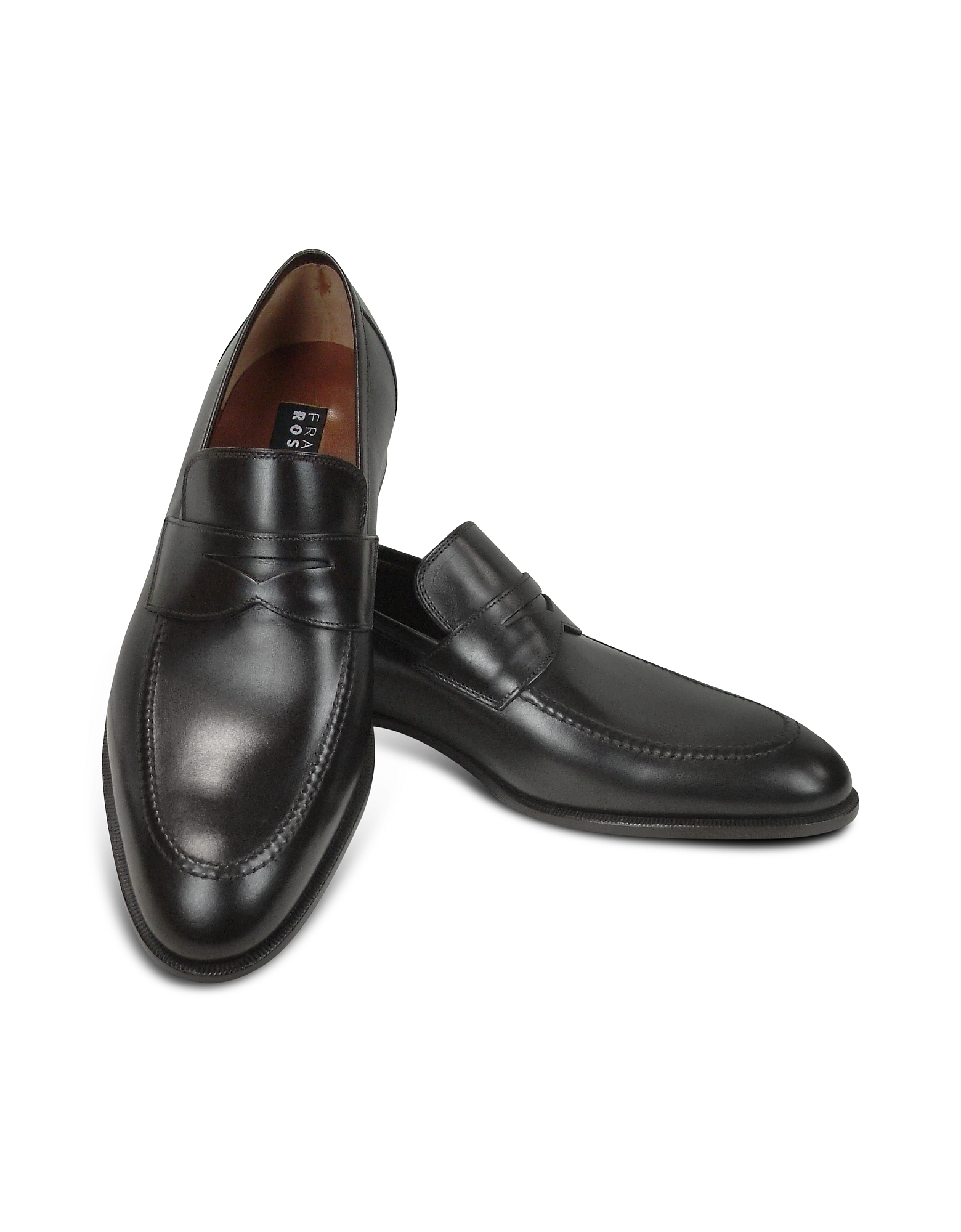 Fratelli Rossetti Shoes, Black Calf Leather Penny Loafer Shoes