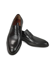 Black Calf Leather Penny Loafer Shoes - Fratelli Rossetti
