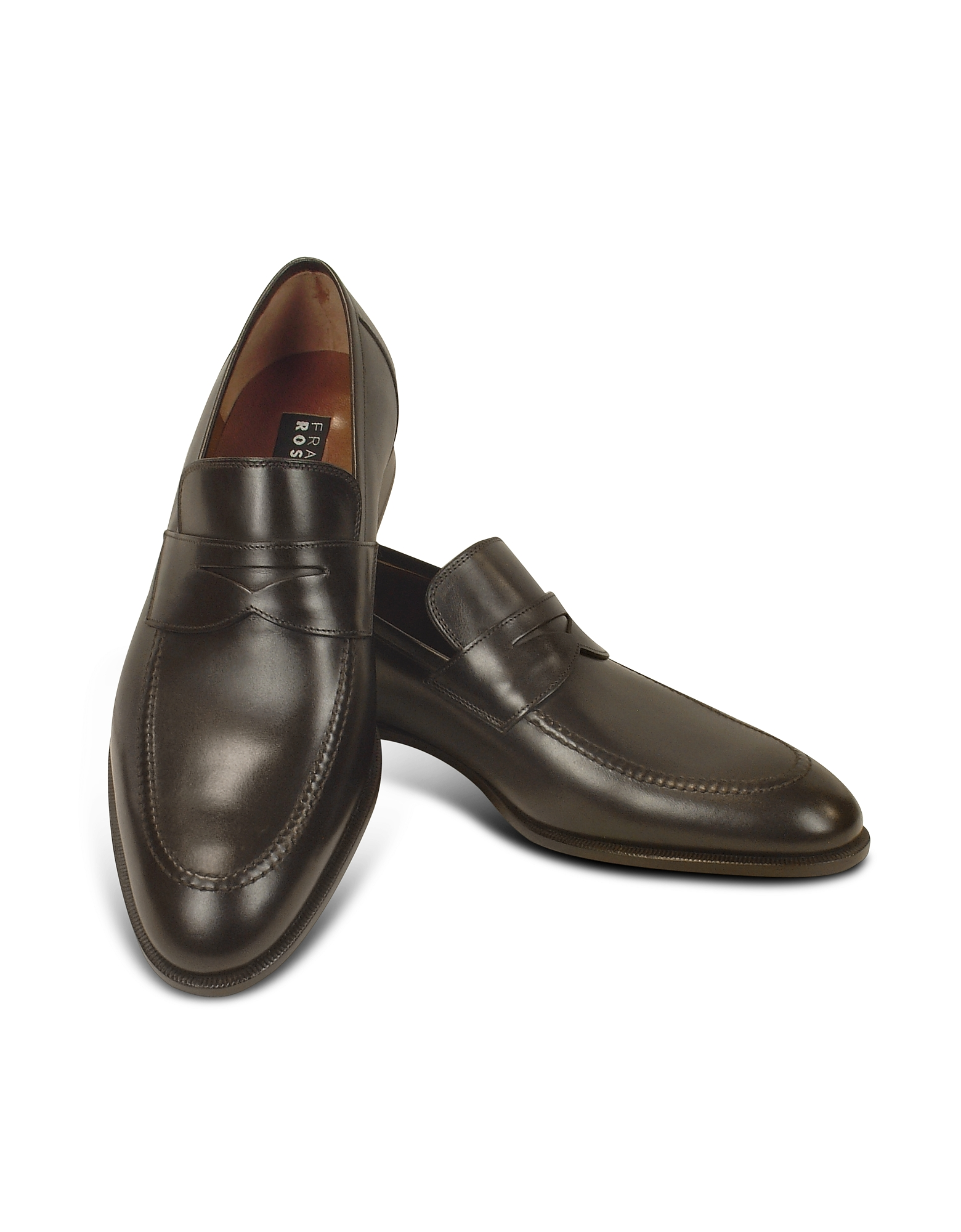 Fratelli Rossetti Shoes, Dark Brown Calf Leather Penny Loafer Shoes