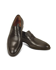 Dark Brown Calf Leather Penny Loafer Shoes - Fratelli Rossetti