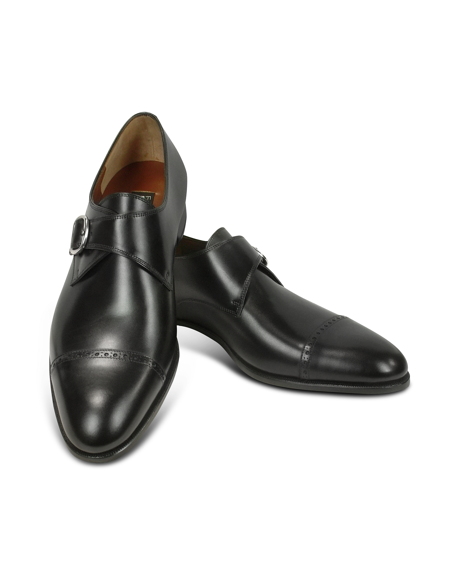 Black Calf Leather Monk Strap Shoes