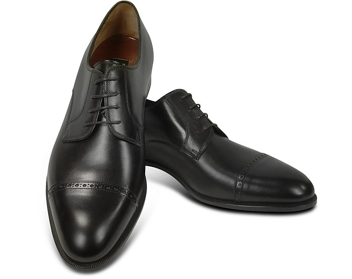 Black Calf Leather Cap Toe Oxford Shoes - Fratelli Rossetti