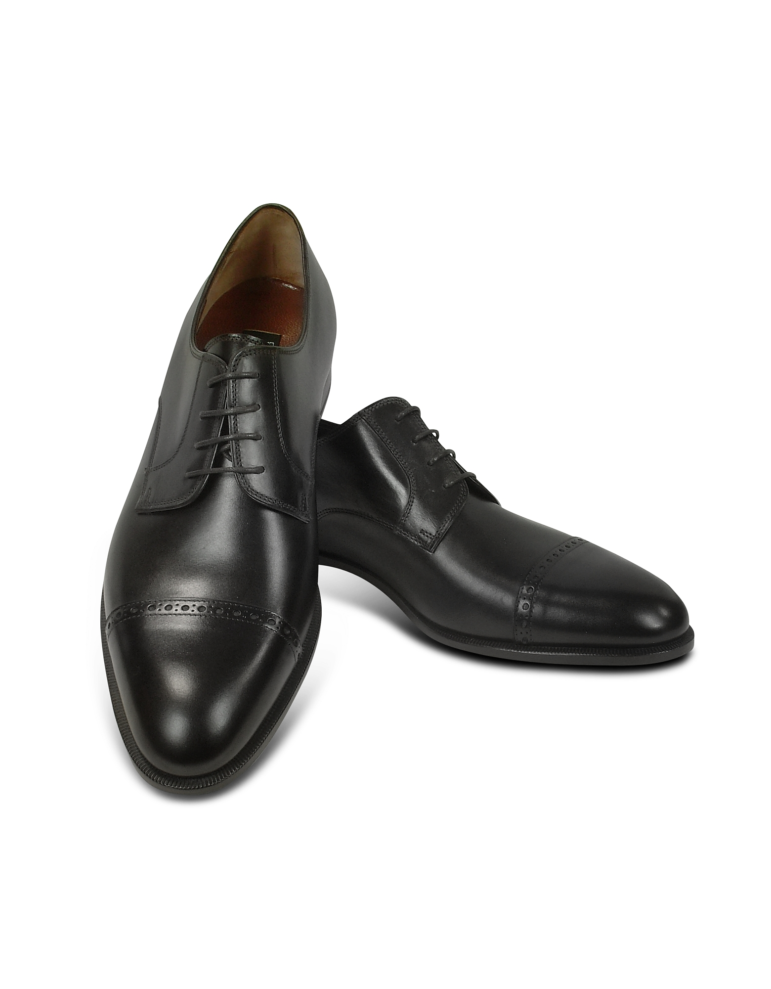 Fratelli Rossetti Designer Shoes, Black Calf Leather Cap Toe Oxford Shoes