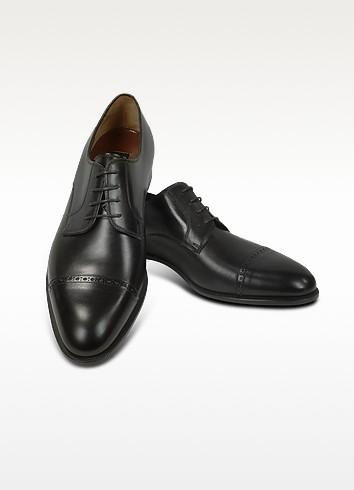 Black Calf Leather Cap Toe Oxford Shoes - Fratelli Rossetti