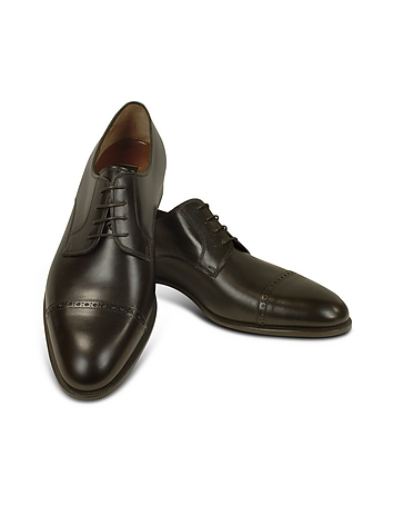 Dark Brown Calf Leather Cap Toe Oxford Shoes