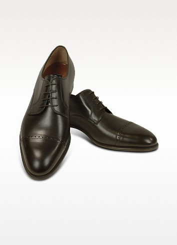 Dark Brown Calf Leather Cap Toe Oxford Shoes - Fratelli Rossetti
