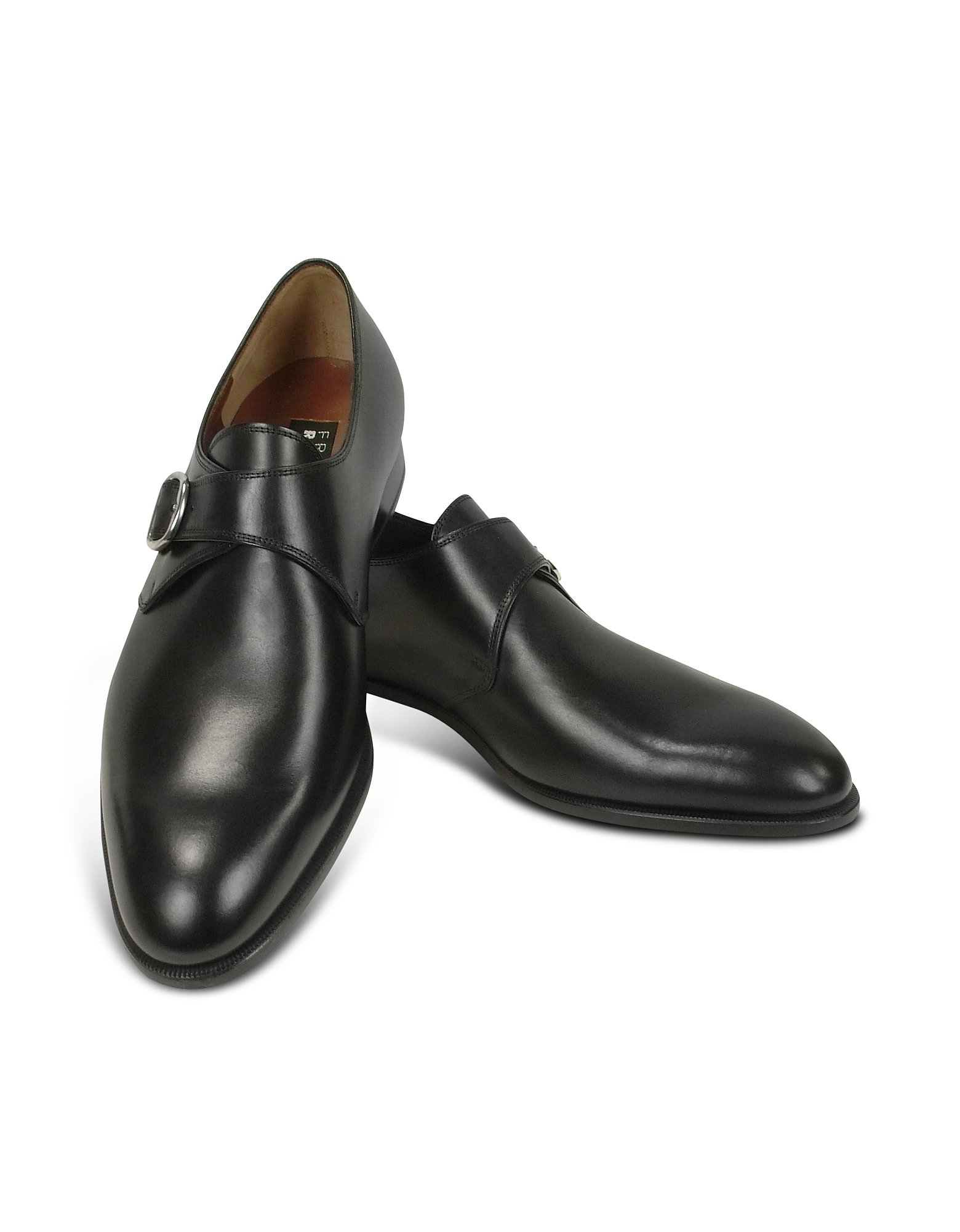 Fratelli Rossetti Shoes, Black Calf Leather Monk Strap Shoes