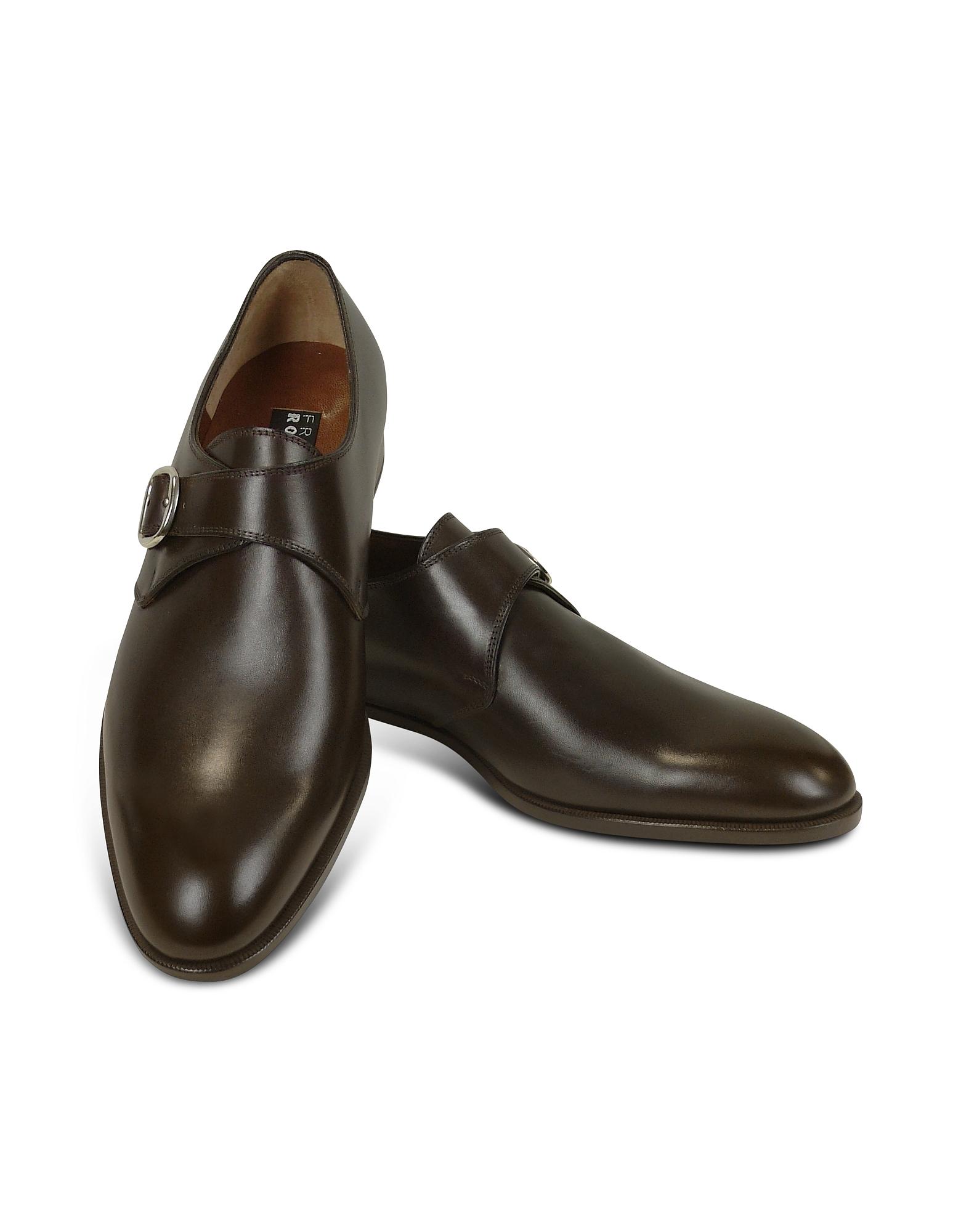 Темно-коричневые Туфли из Кожи Теленка с Ремешком