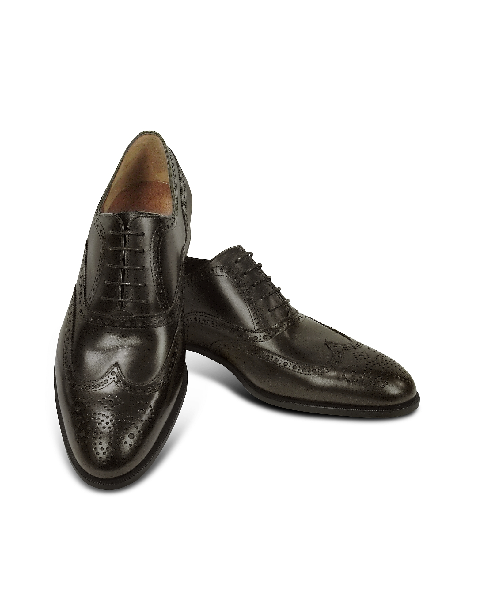 Fratelli Rossetti Shoes, Dark Brown Calf Leather Wingtip Oxford Shoes