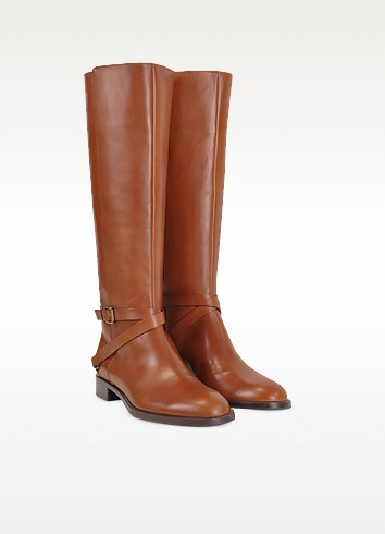 Magenta - Brown Leather Flat Riding Boots - Fratelli Rossetti