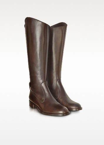 Dark Brown Leather Knee Boots - Fratelli Rossetti