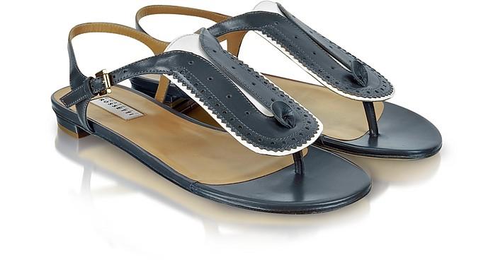 Blue Leather Thong Sandal - Fratelli Rossetti