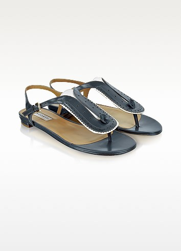 Blue Leather Thong Sandal - Fratelli Rossetti