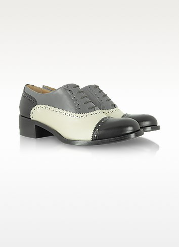 Nagoya - Black, White and Gray Wingtip Oxford - Fratelli Rossetti
