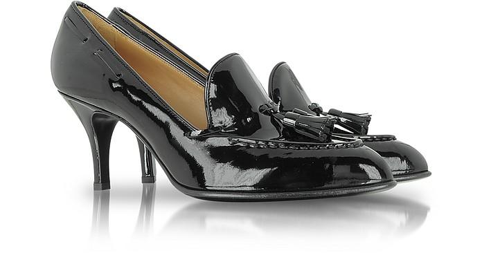 Black Patent Leather Mid-Heel Pump  - Fratelli Rossetti