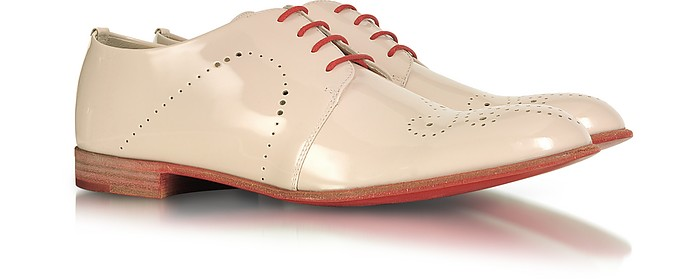 Powder Pink Patent Leather Derby Shoes - Fratelli Rossetti
