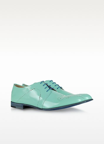Sky Blue Patent Leather Derby - Fratelli Rossetti