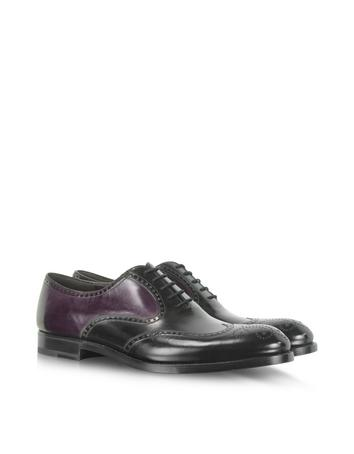 Black and Purple Leather Derby Shoe