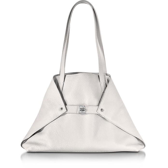 Ai Small White Leather Tote Bag - Akris