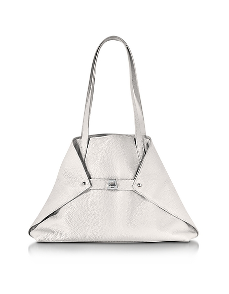 Image of Akris Ai Small Shopper in Pelle Bianco Ottico