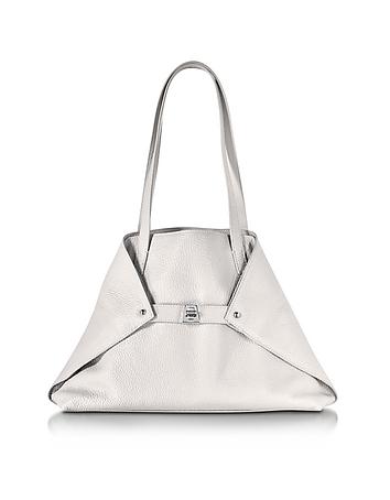 Ai Small White Leather Tote Bag