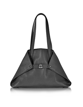 Akris - Ai Small Black Leather Tote Bag