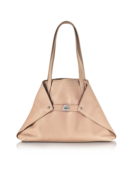 Image of Akris Ai Small Shopper in Pelle Rosa Cipria