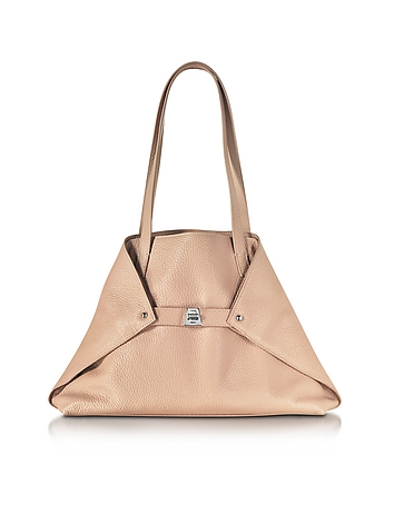 Akris - Ai Small Pale Rose Leather Tote Bag