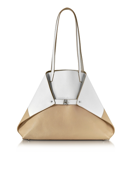 Image of Akris Ai Medium Shopper in Pelle Bianco/Corda