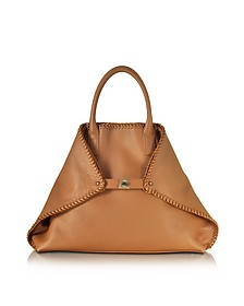 Ai Medium Cuoio Leather Tote w/Woven Edge - Akris