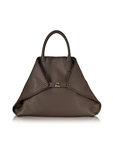 Ai Medium Mocca Leather Tote w/Woven Edge - Akris