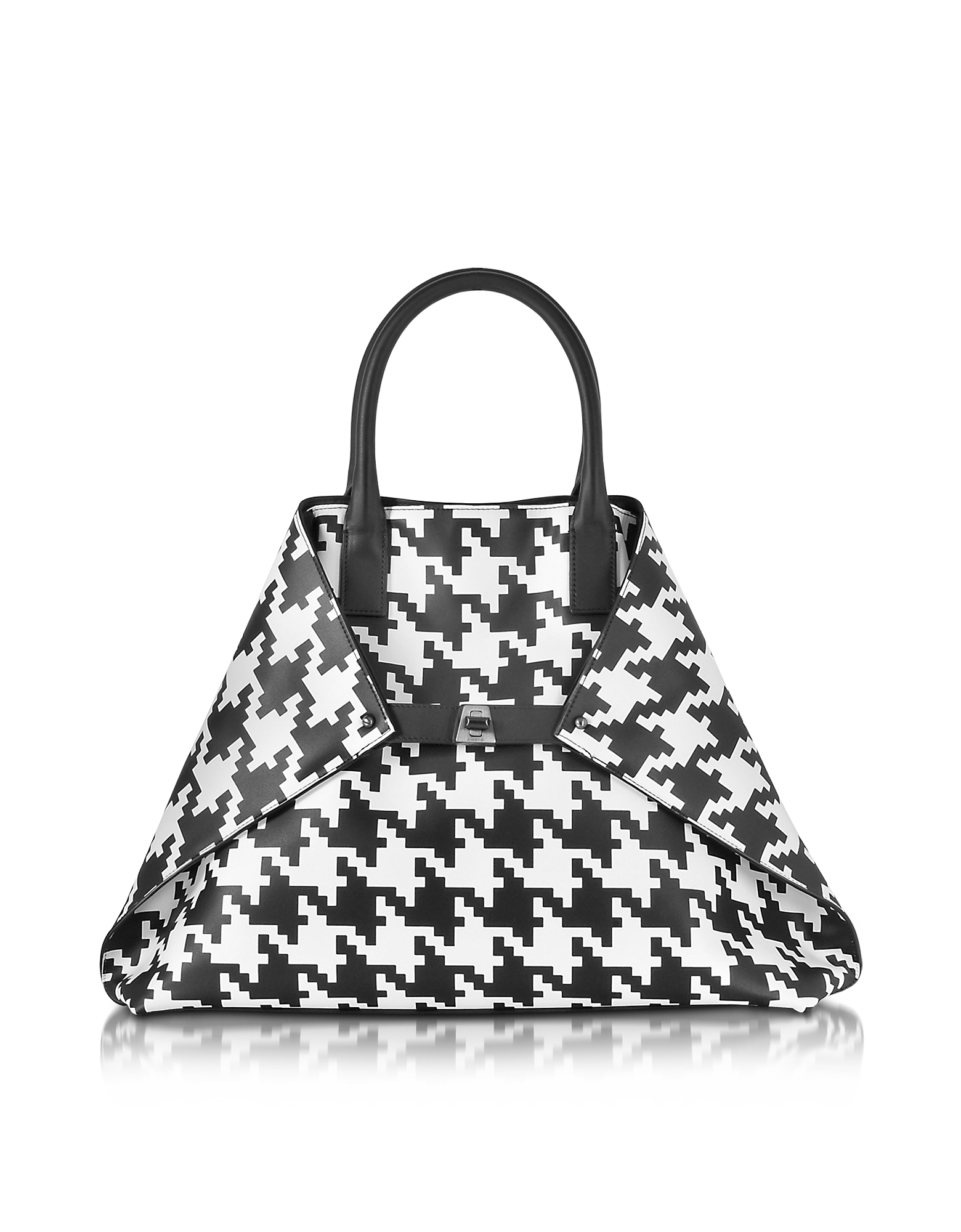 Akris Handbags, Ai Medium Black and White Pied de Poule Printed Leather Tote Bag