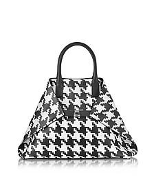 Ai Medium Black and White Pied de Poule Printed Leather Tote Bag - Akris
