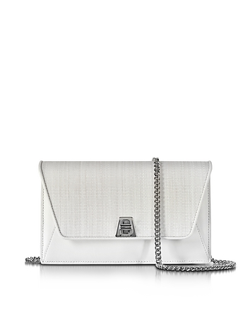 Akris - Anouk White Horsehair and leather Clutch w/Chain