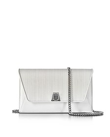 Anouk White Horsehair and leather Clutch w/Chain - Akris