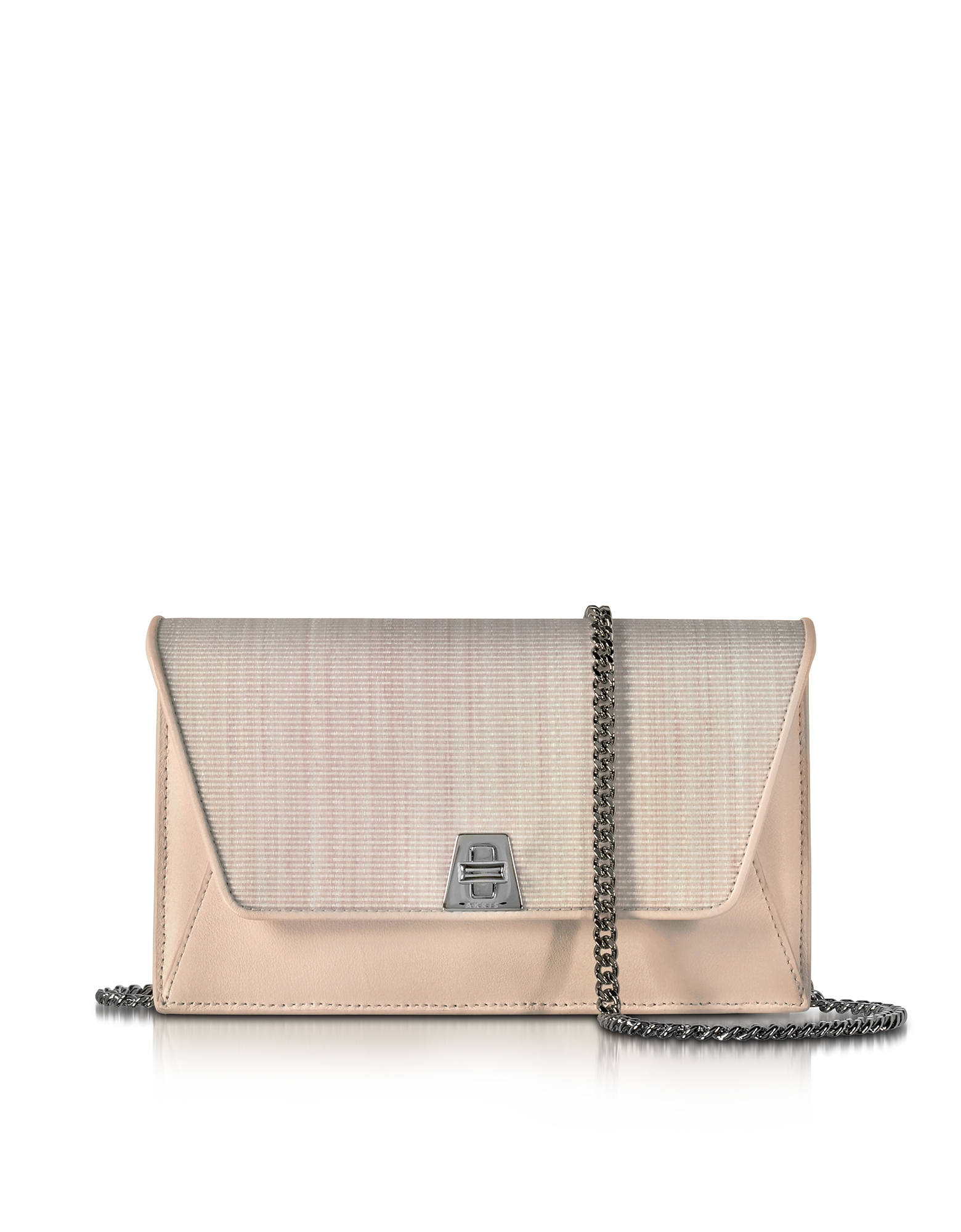 Akris Handbags, Anouk Pale Rose Horsehair and Leather Clutch w/Chain