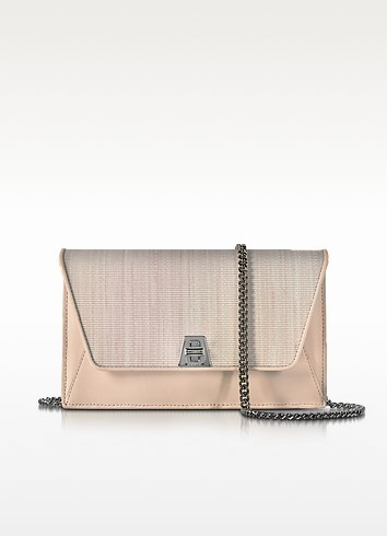 Anouk Pale Rose Horsehair and Leather Clutch w/Chain - Akris