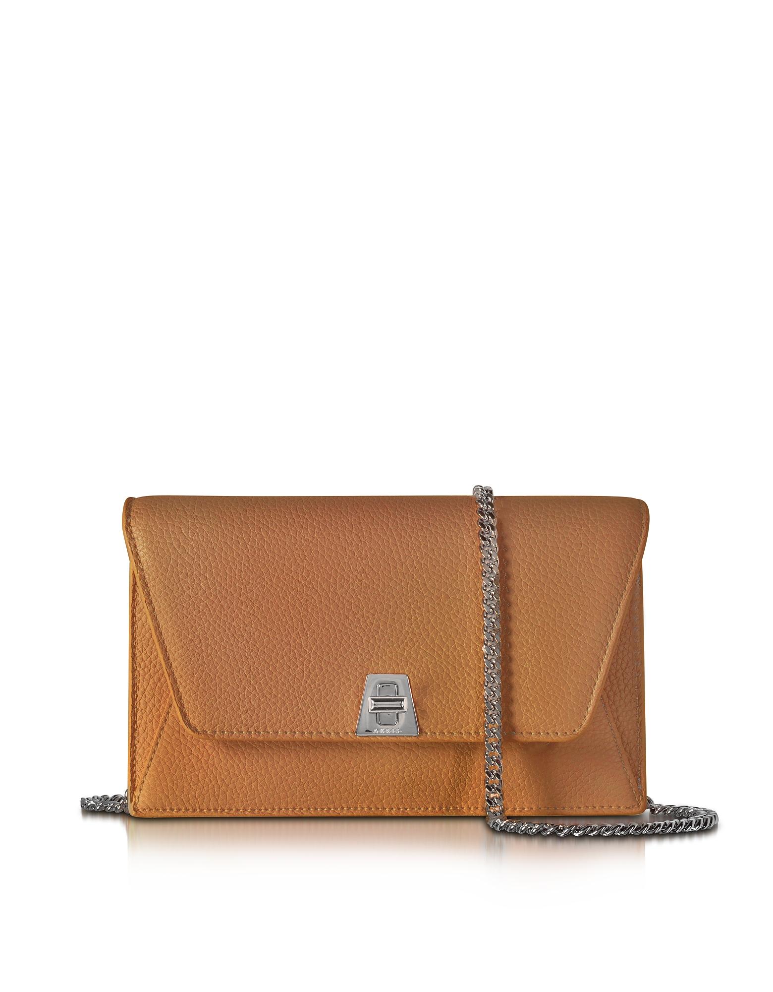 Akris Handbags, Anouk Cuoio Pebbled Leather Clutch w/Chain