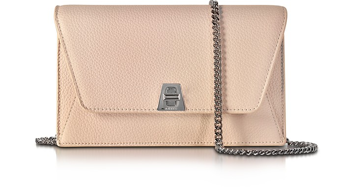 ANOUK PALE ROSE PEBBLED LEATHER CLUTCH W/CHAIN