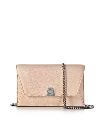 Akris - Anouk Pale Rose Pebbled Leather Clutch w/Chain