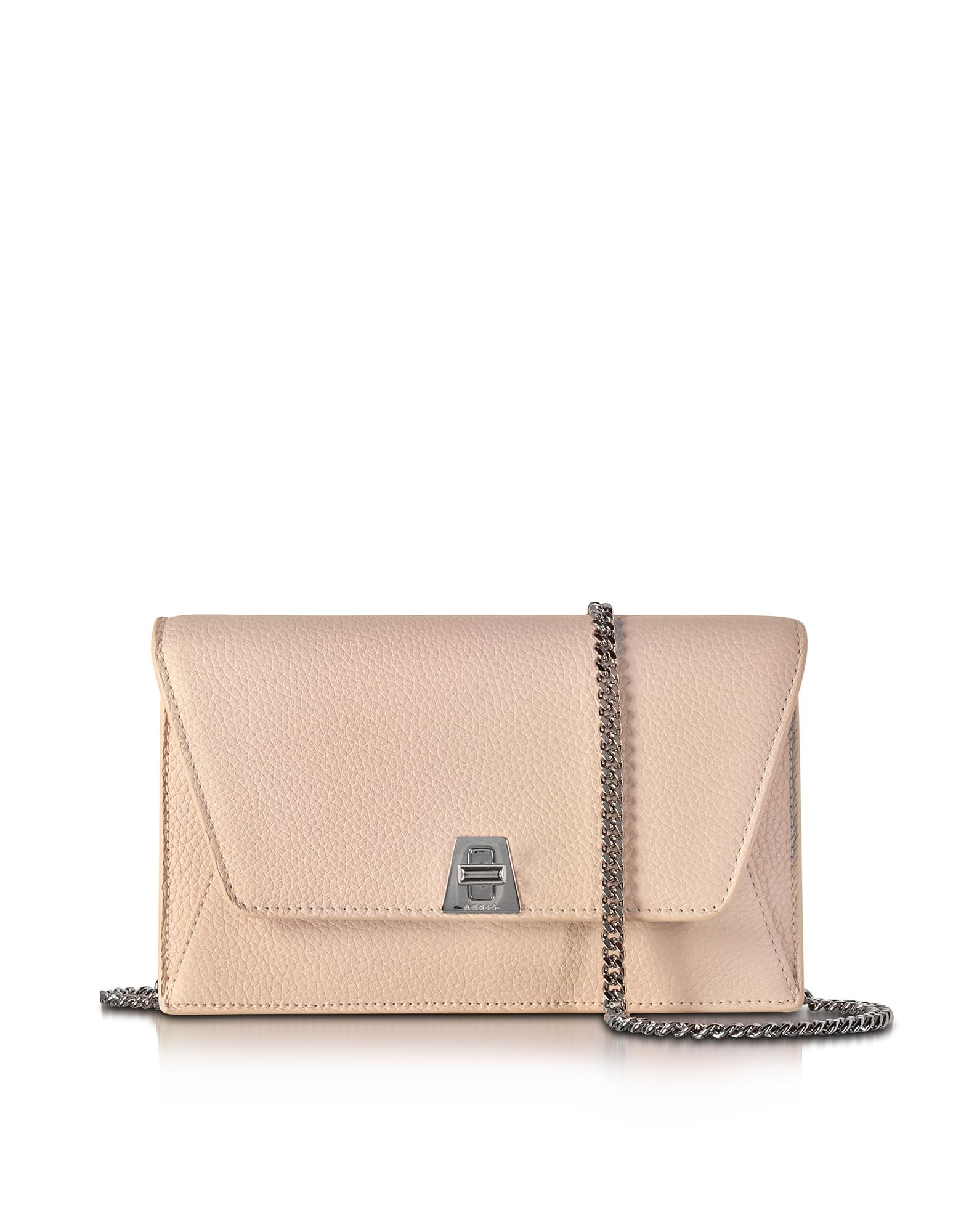 Akris Handbags, Anouk Pale Rose Pebbled Leather Clutch w/Chain