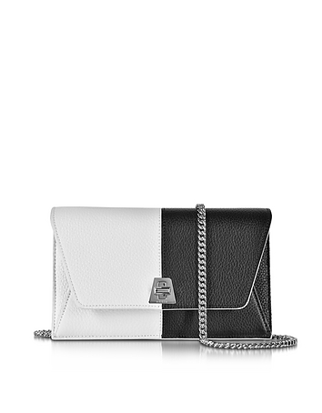 Akris - Anouk Black & White Pebbled Leather Clutch w/Chain
