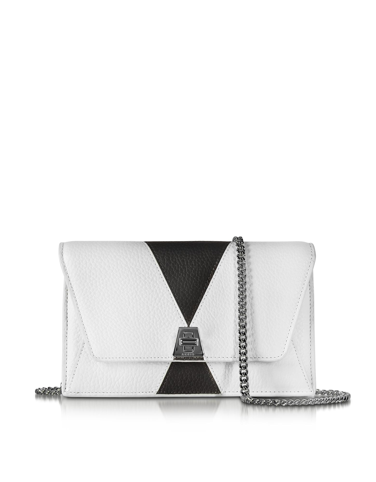Akris Handbags, Anouk Color Block Pebbled Leather Clutch w/Chain