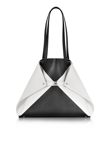 Image of Akris Ai Medium Shopper in Pelle Bianco/Nero